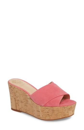 d57b1fab6f9 Vince Camuto Kessina Platform Wedge Mule In Soft Pink Suede
