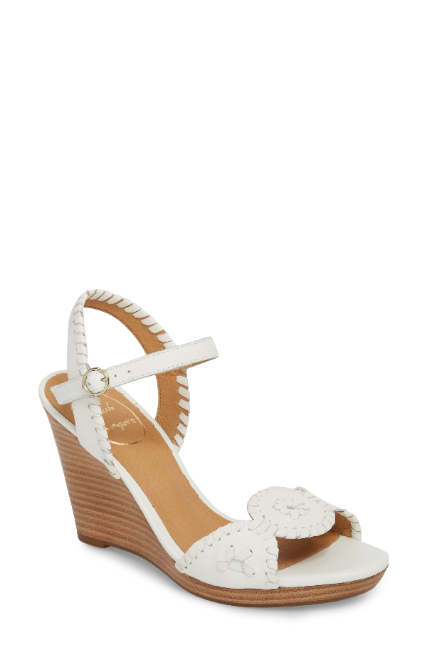 55d79b2051b Jack Rogers Women s Clare Leather Platform Wedge Sandals In White Leather