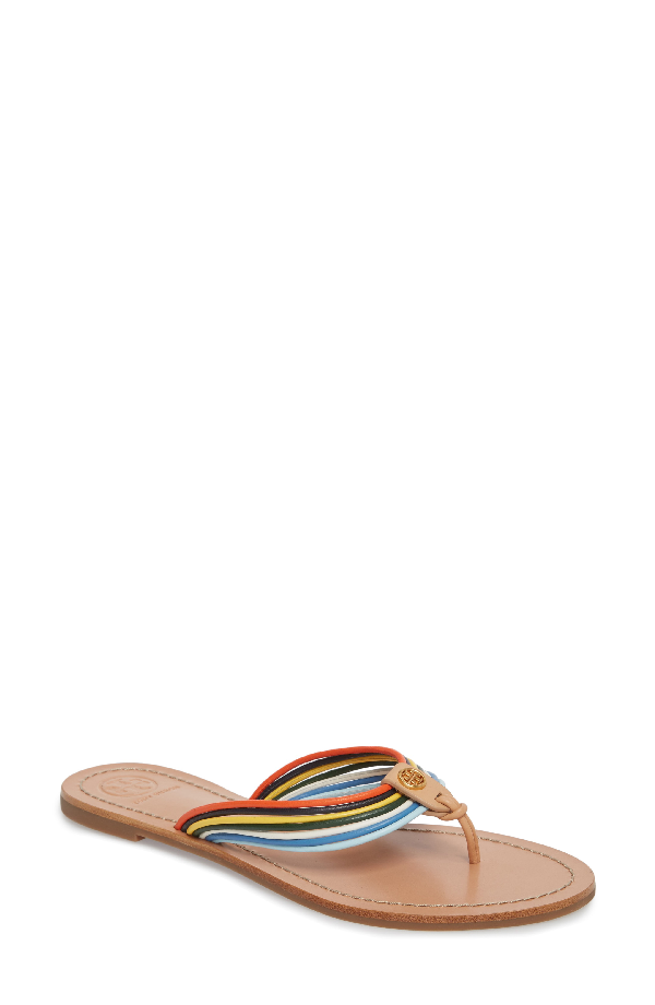 37e56e396d02 Tory Burch Sienna Strappy Thong Sandal In Multi Multi  Natural Vachetta