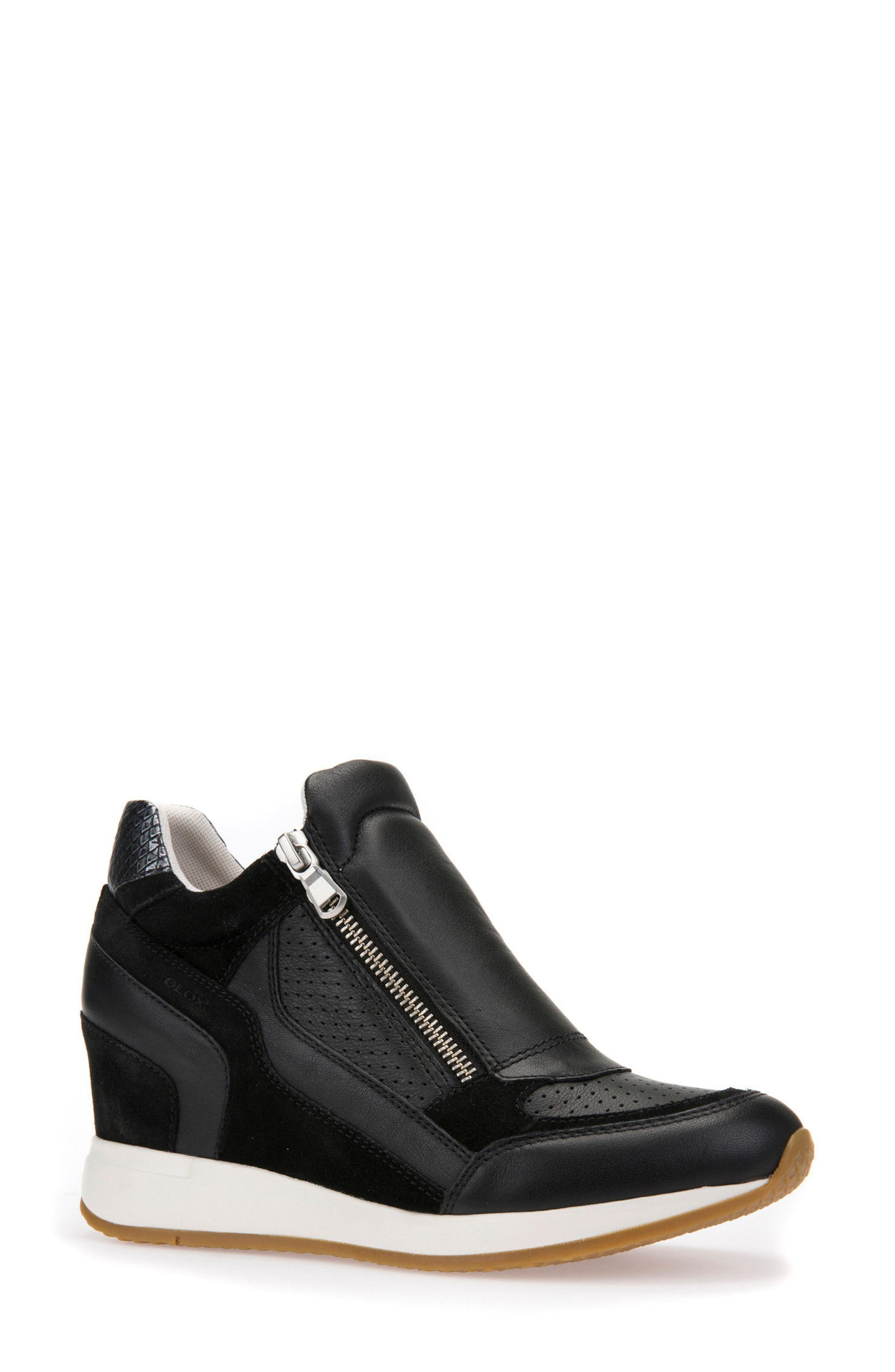 29f67c3157d8 Geox Nydame Wedge Sneaker In Black Leather