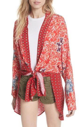 913e51e8649f9f Free People Forget Me Knot Tie Front Kimono In Light Red | ModeSens