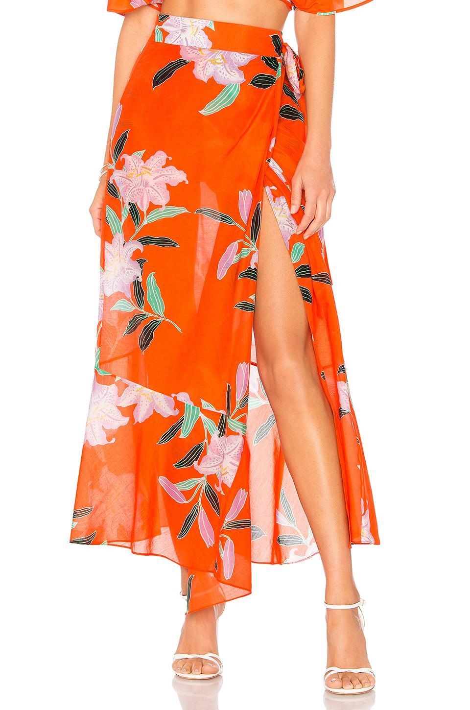 5a9befa1ae Diane Von Furstenberg Draped Wrap Beach Skirt In Orange   ModeSens
