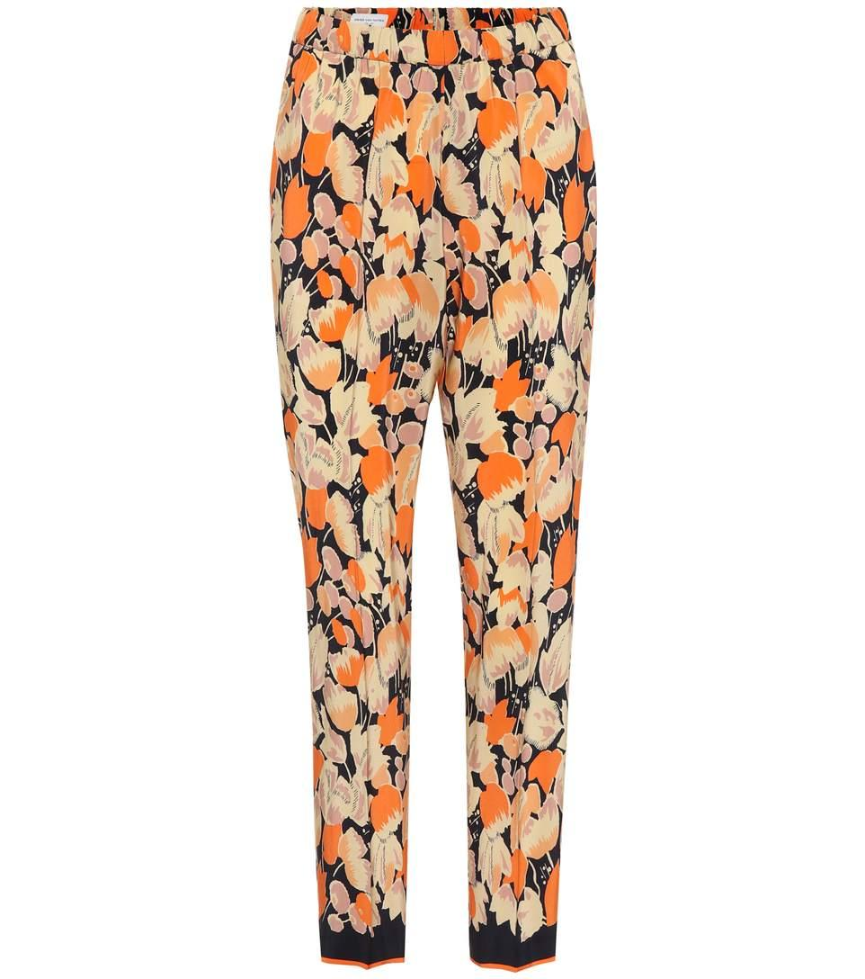 aba158173b Dries Van Noten Printed Silk Trousers In Oraege