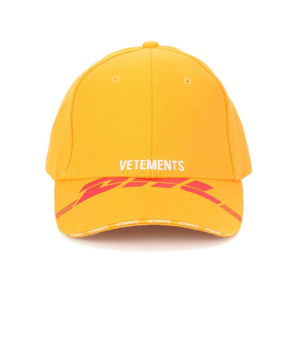e1d5bcbe587e18 Vetements Embroidered Cotton-Twill Baseball Cap In Yellow | ModeSens