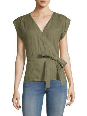 Frame Linen Wrap Top In Deep Army Green