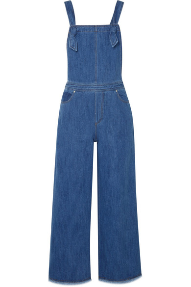 Elizabeth And James Jennette Square-neck Knot-strap Wide-leg Denim Jumpsuit In Mid Denim