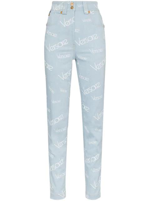 d642b9d769 Versace High Waist Printed Cotton Denim Jeans In Light Denim   ModeSens