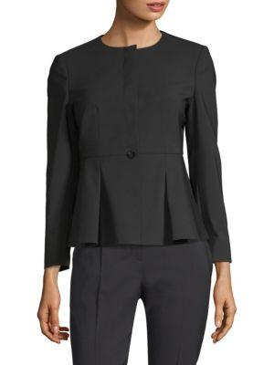 Boss Jolanna Tropical Stretch Wool Jacket In Black