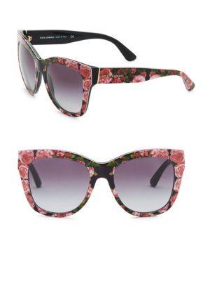 f451a48842a8 Dolce & Gabbana 55Mm Square Floral Acetate Sunglasses In Rose Horn ...