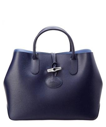 Longchamp Roseau Small Leather Tote In Blue