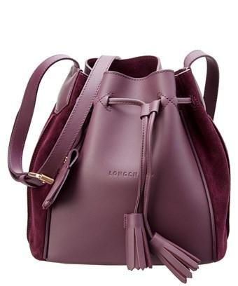 f1956f250 Longchamp Penelope Soft Leather & Suede Bucket Bag In Purple   ModeSens