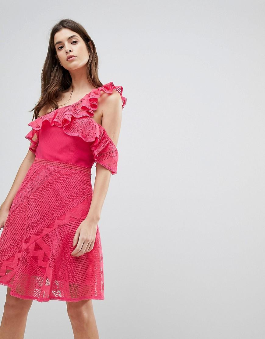 Three Floor One Shoulder Frill Lace Dress - Pink