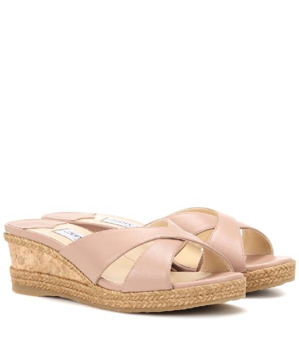 f7680a4fc726 Jimmy Choo Almer 50 Ballet Pink Nappa Leather Sandal Mules With Braid Trim  Wedge