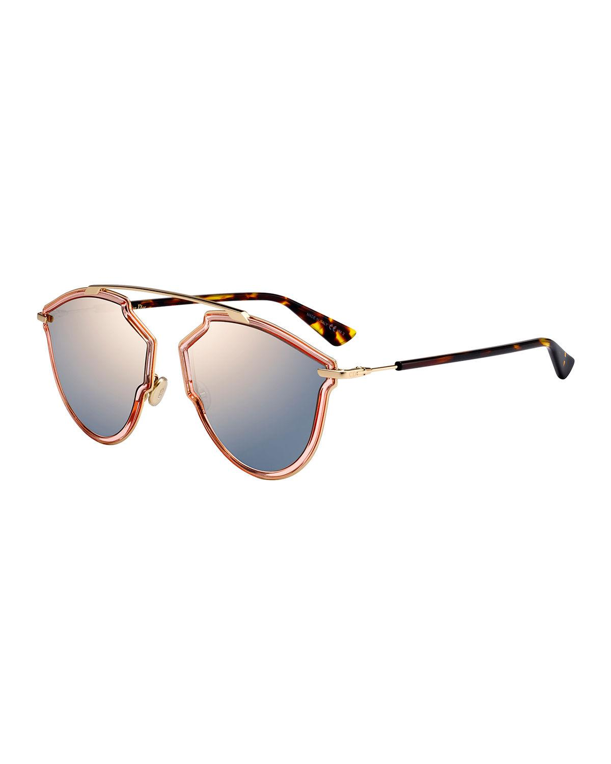 9866193cf855 DIOR. Women s Sorealrise Mirrored Brow Bar Round Sunglasses