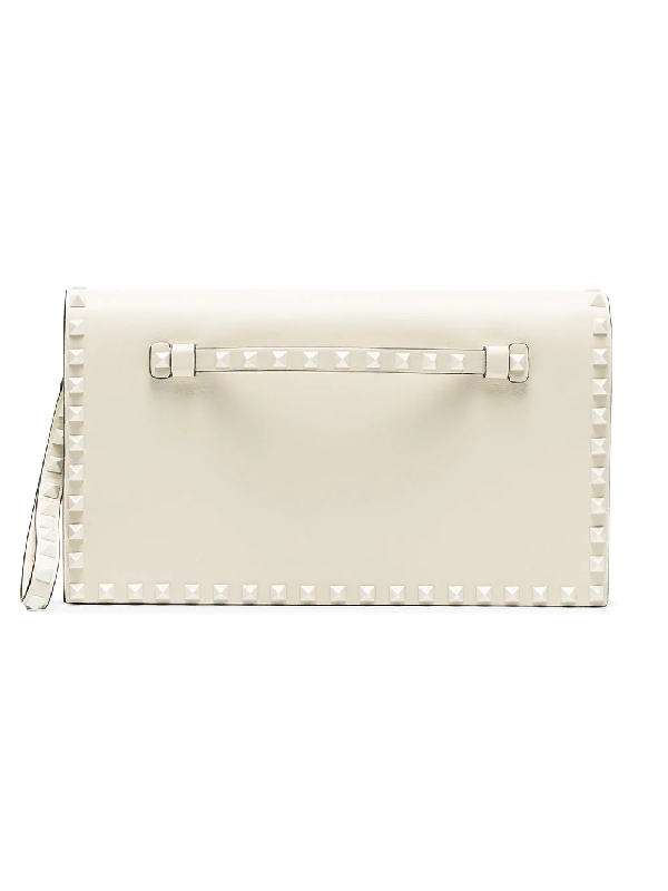 c0c822512a Valentino Monochrome Rockstud Leather Wristlet Clutch Bag In Neutrals