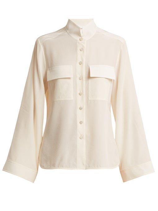 062d38c6ea12d ChloÉ Stand-Collar Silk Crepe De Chine Shirt In Cream