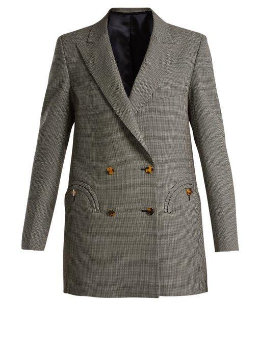 BlazÉ Milano Blaze Milano Kentra Everyday Double Breasted Blazer In Checkered & Plaid,gray In Grey