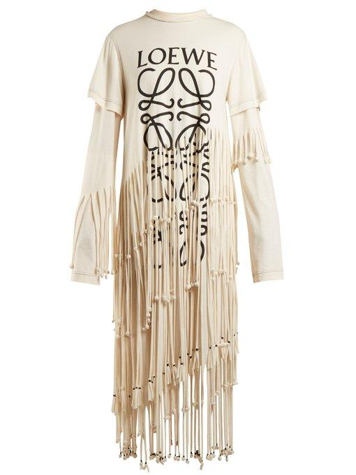 Loewe Fringed Printed Cotton And Silk-blend Jersey Dress In Beige