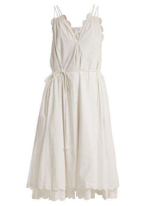 Apiece Apart Mirage Scalloped Cotton-Poplin Dress In White