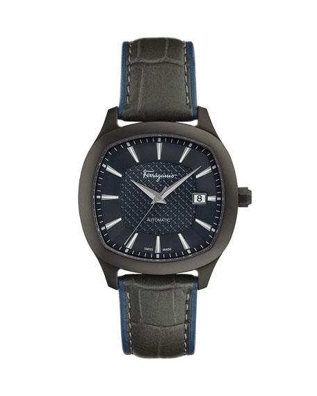 Salvatore Ferragamo Men's Automatic Octagonal Leather Watch, Blue/Gunmetal