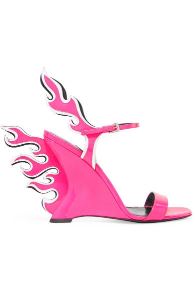 Prada Pink And White Flame 100 Patent Leather Wedge Sandals In Pink & Purple