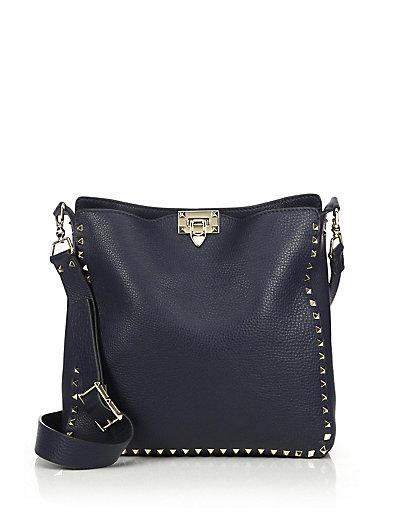 Valentino Rockstud Utilitarian Medium Leather Crossbody Bag In Navy