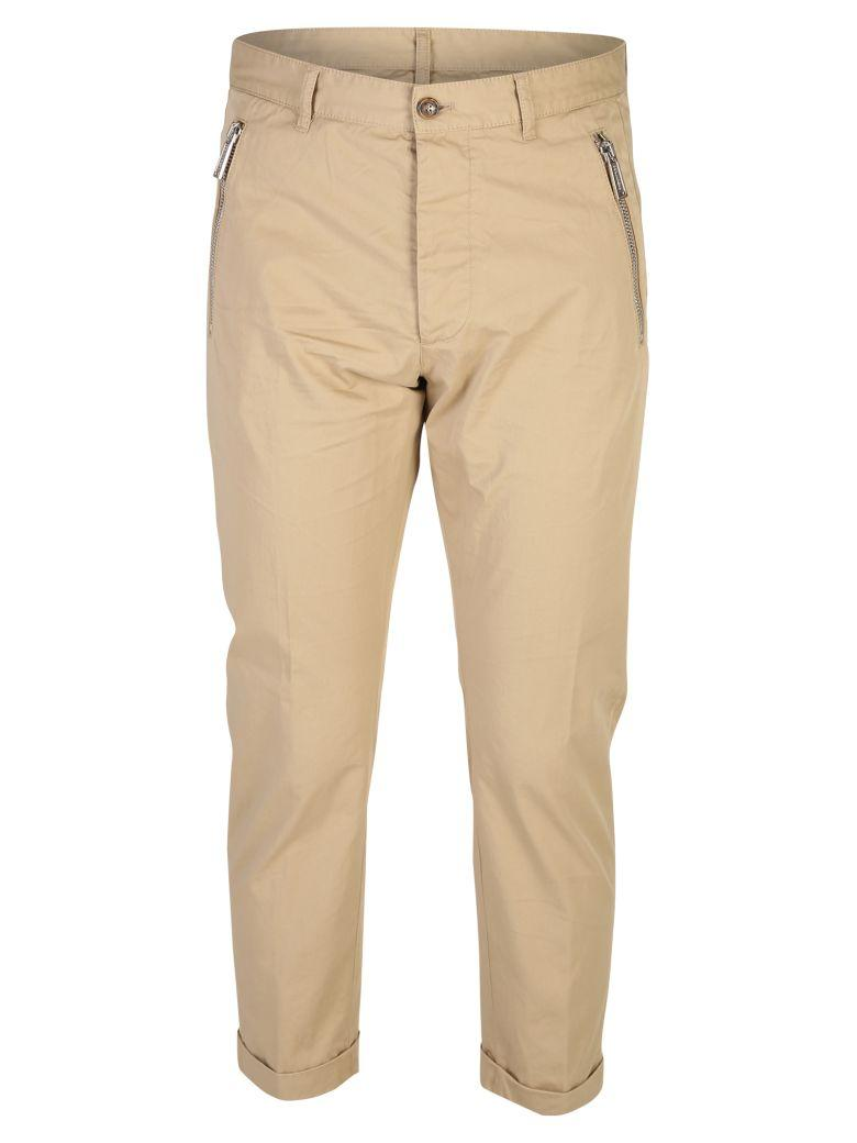 Dsquared2 Beige Cropped Zip Trousers