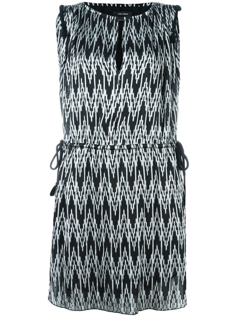 Isabel Marant Digital Chevron Print Dress In Black