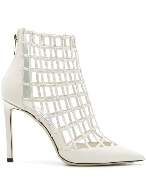 Jimmy Choo Women's Sheldon 100 Caged Leather High-heel Booties In White