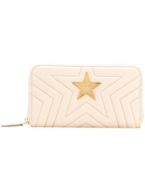 Stella Mccartney Stella Star Zip Wallet In Beige