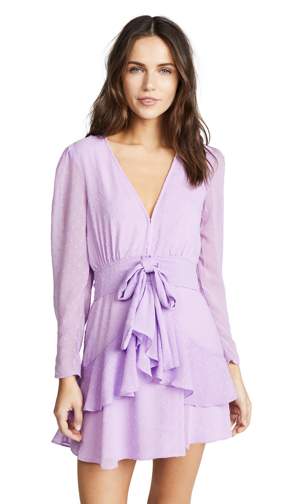 585b407a7c4f For Love & Lemons Tarta Long Sleeve Mini Dress In Lilac | ModeSens