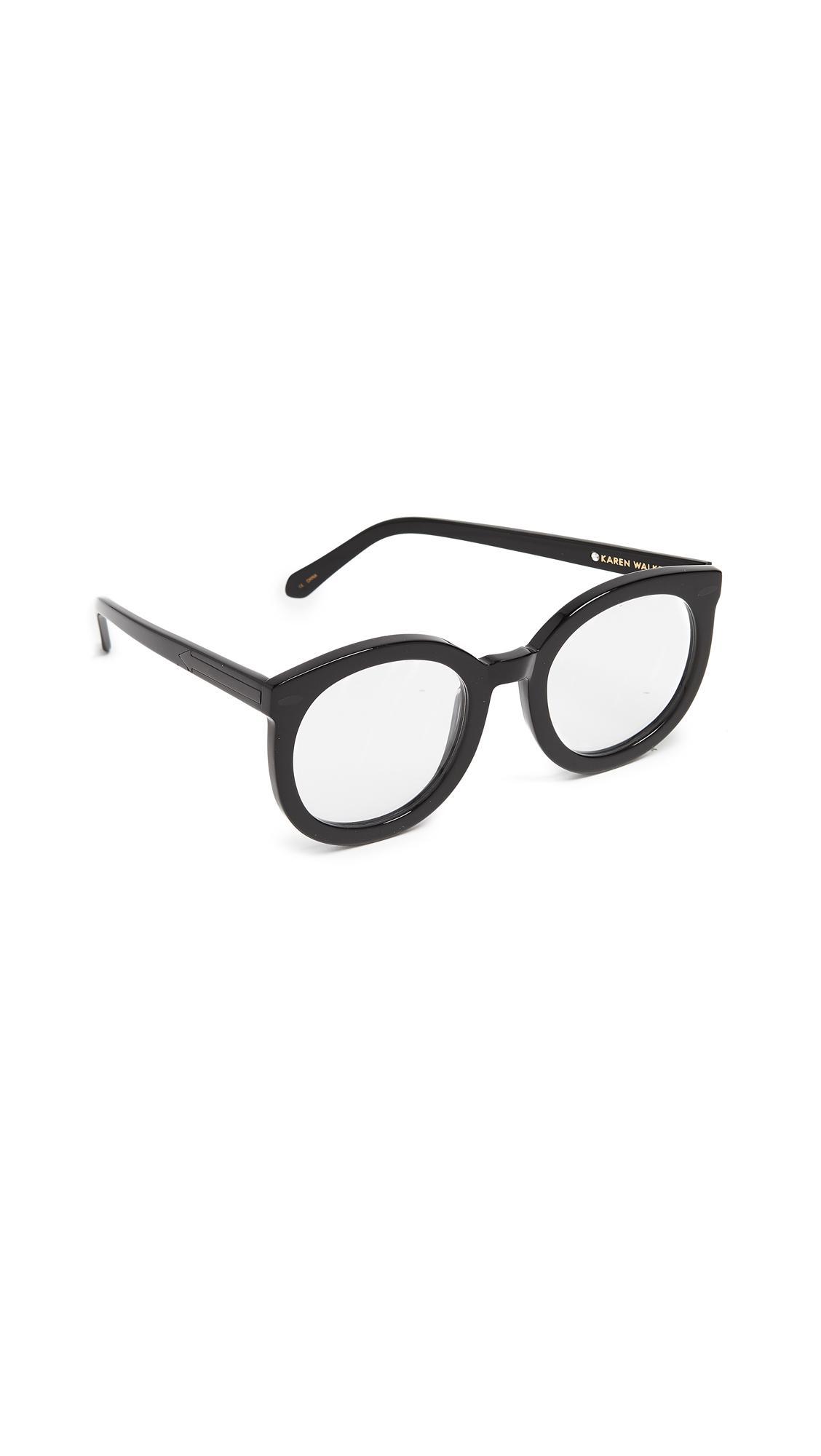 e1c3eda3b44 Karen Walker Super Duper Strength Glasses In Black Clear