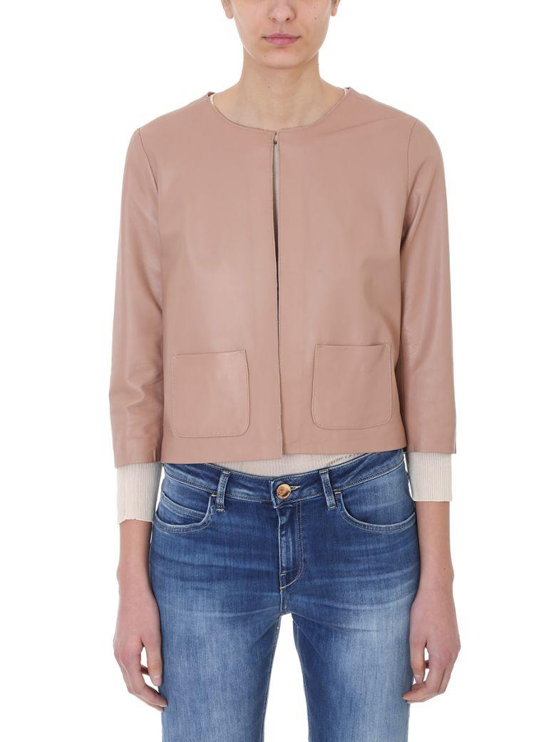 65e6f686f52 Cropped Pink Leather Jacket in Powder