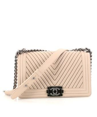 cf90c5cd3bba CHANEL. Pre-Owned: Boy Flap Bag Chevron Calfskin With Micro Chain Detail Old  Medium in Neutral