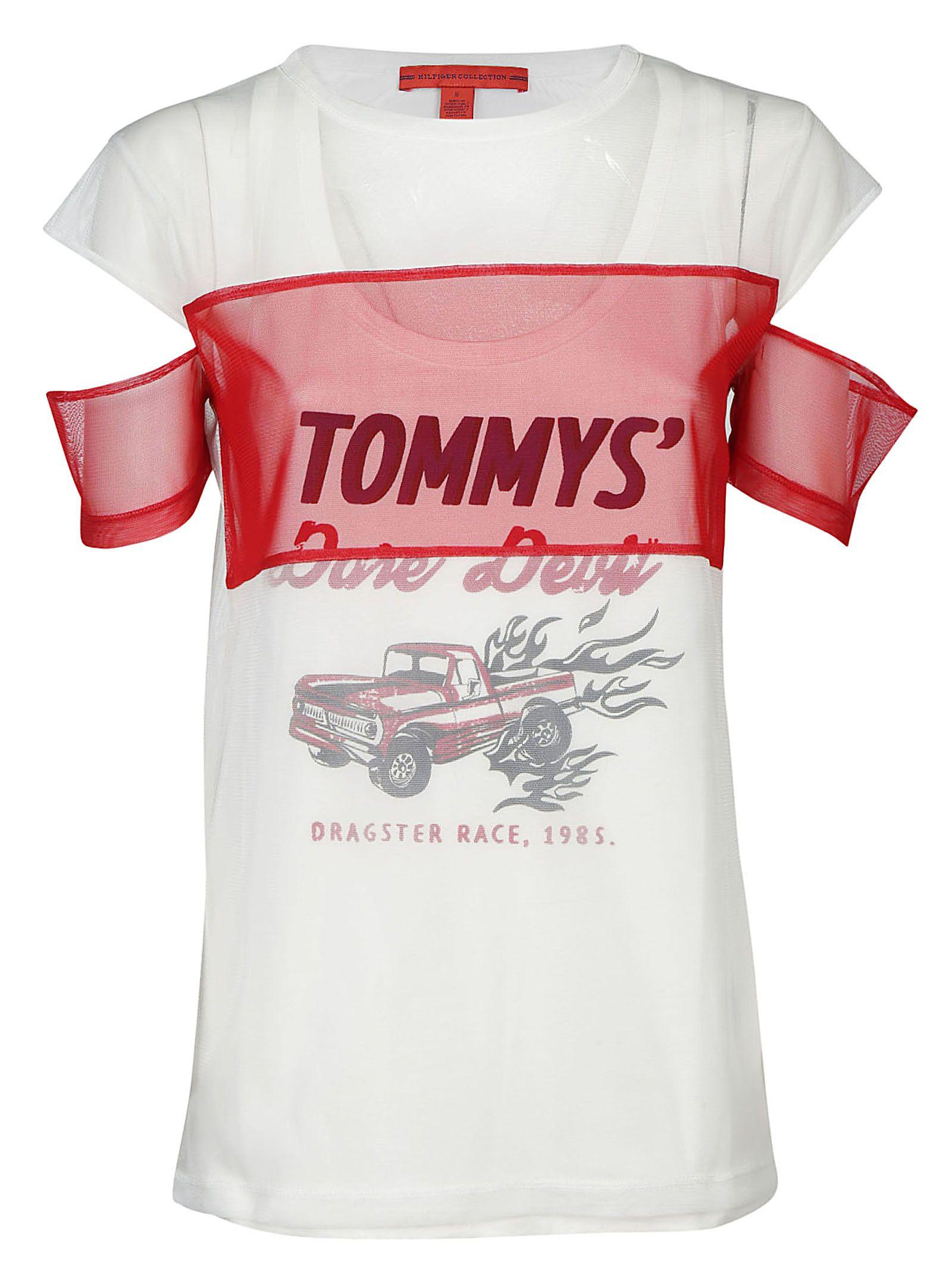 Tommy Hilfiger Tulle Vest T-Shirt In White Red