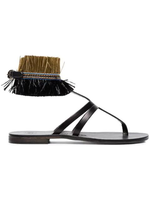 Álvaro González Álvaro Black Ariana Raffia Flat Leather Sandals