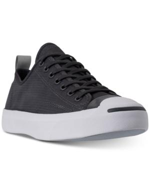 c65a500c5533 CONVERSE. Men s Jack Purcell Low Top Woven Textile Casual Sneakers From  Finish Line in Almost Black Surplus Sage