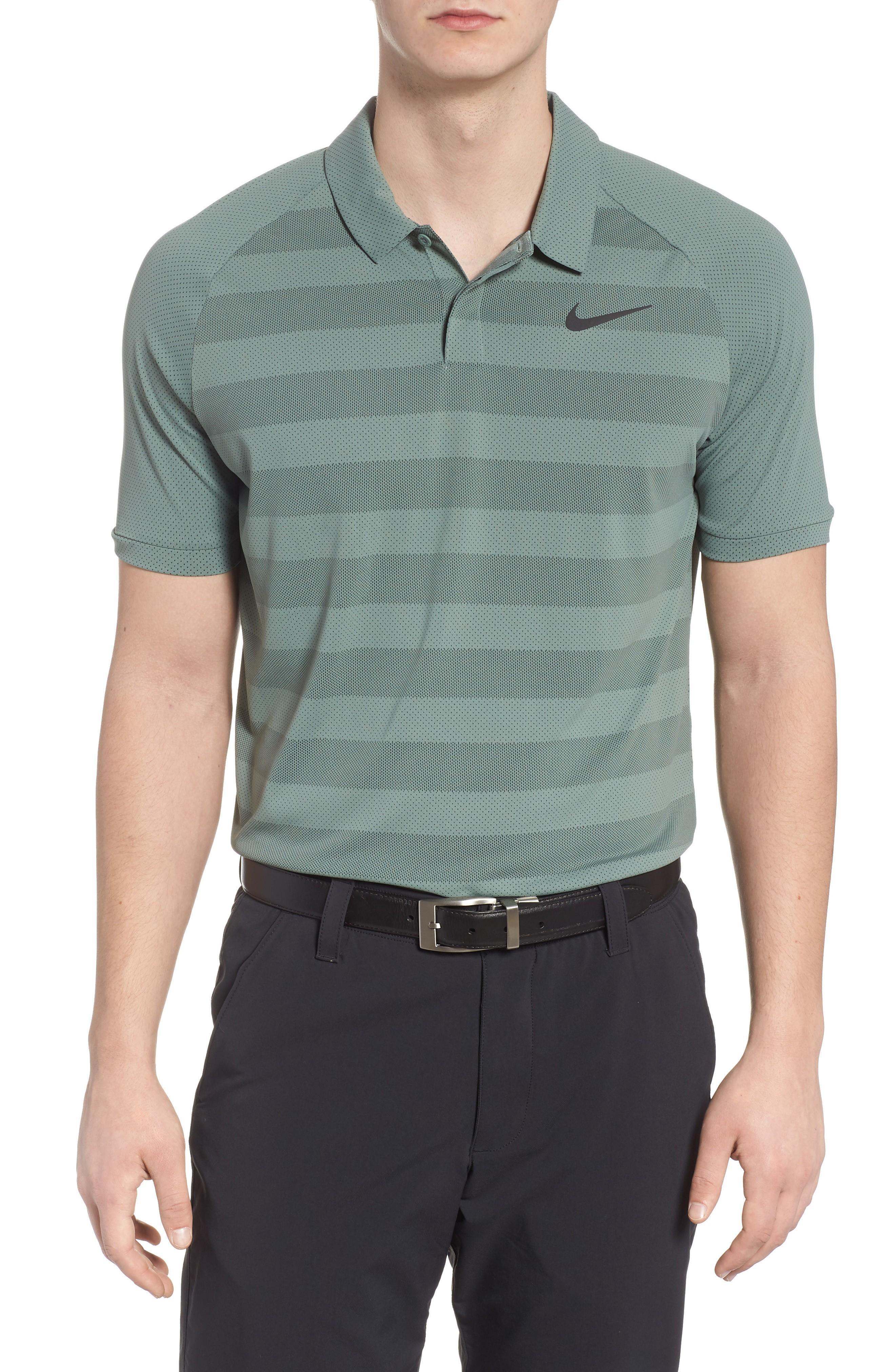 1f281166 Nike Stripe Polo Shirt In Clay Green/ Sequoia/ Black   ModeSens