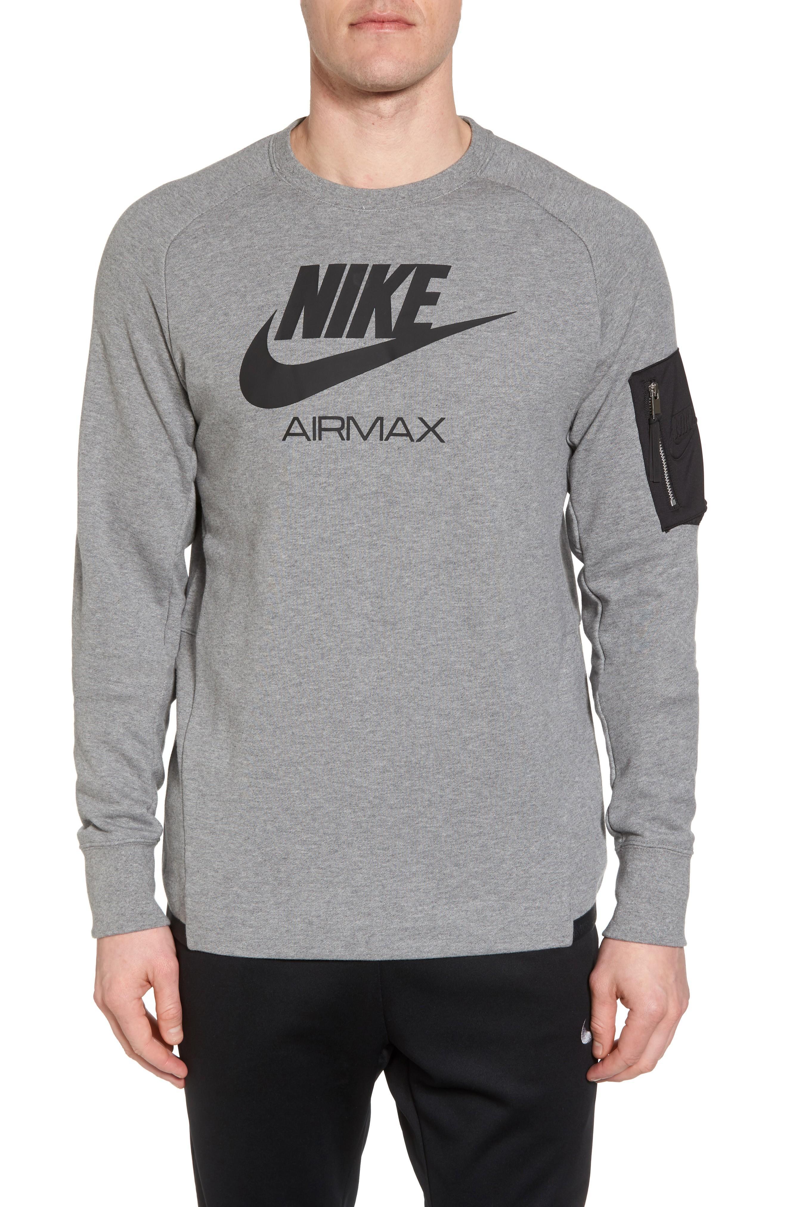 52419c5e61 Nike Nsw Air Max Crewneck Sweatshirt In Carbon Heather  Black  Black ...