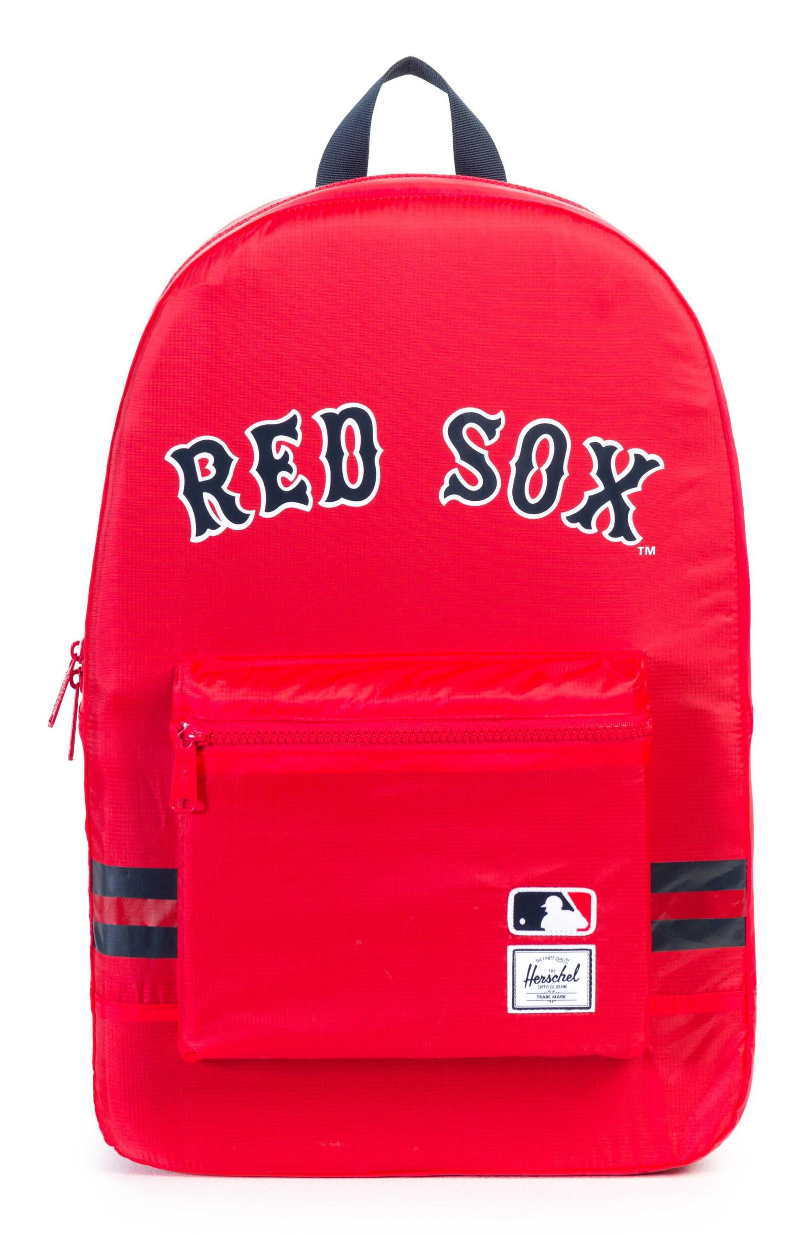 06e052307c9 An ultra-light ripstop backpack printed with your favorite American League  team logos packs down into its own interior pocket when not in use.