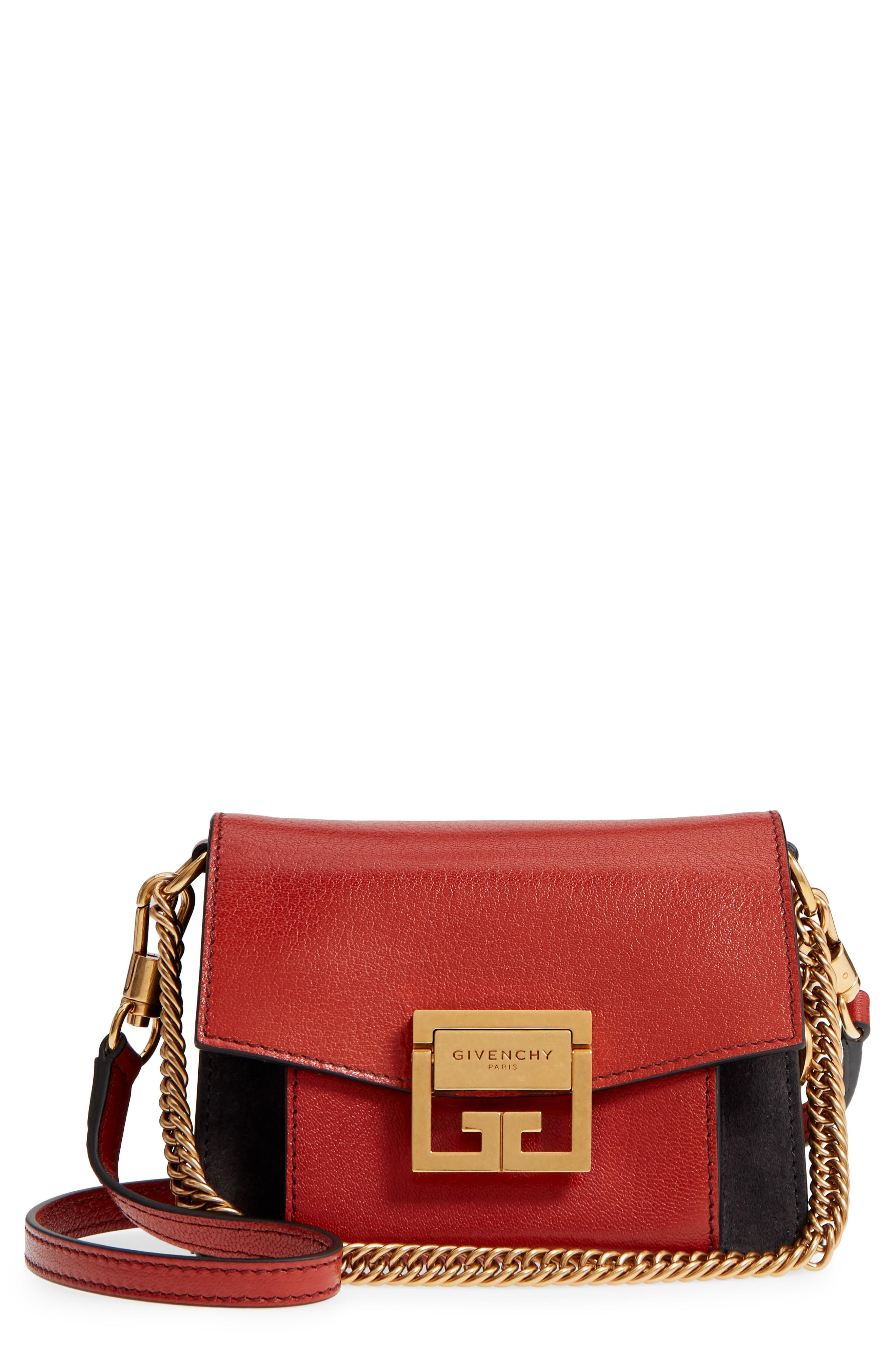 d9fd180037f8 Givenchy Mini Gv3 Leather   Suede Crossbody Bag - Red In Mahogany  Off Black