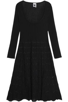 M Missoni Woman Crochet-Knit Merino Wool-Blend Mini Dress Black