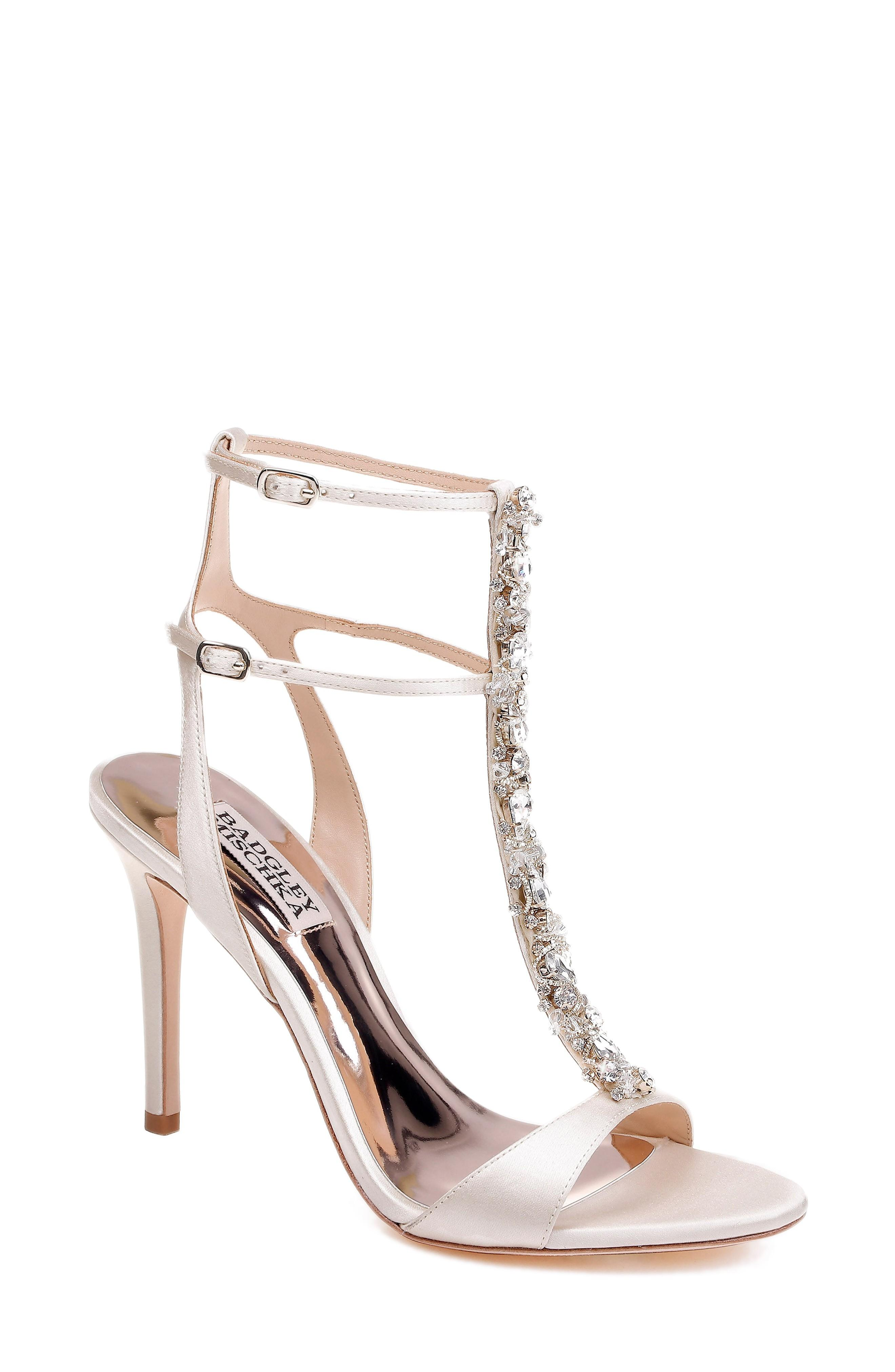 a83a8222eee Badgley Mischka Hollow T-Strap Embellished Sandal In Ivory Leather ...