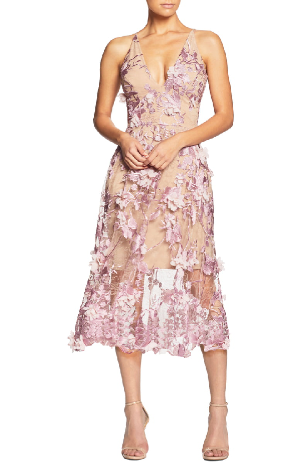 Dress The Population Audrey Embroidered Fit & Flare Dress In Lilac/ Nude