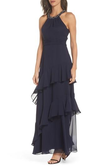 c0e954c09305 Eliza J Beaded Halter Tiered Chiffon Gown In Navy | ModeSens