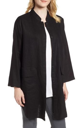 Eileen Fisher Organic Linen Jacket In Black