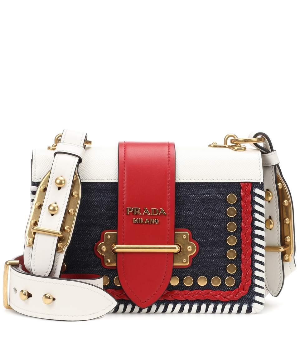 fbddd50803e7 Prada Cahier Denim And Leather Shoulder Bag In Female   ModeSens