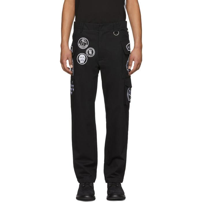 Ktz Black Scout Patches Military Trousers In Black White