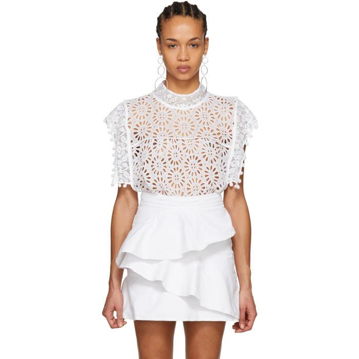 ef1ad09569 Isabel Marant White Kery Broderie Anglaise Blouse | ModeSens