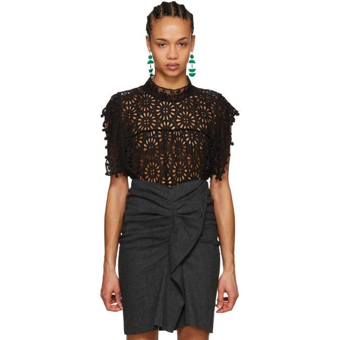 79b71429d7 ISABEL MARANT. Isabel Marant Black Kery Broderie Anglaise Blouse ...